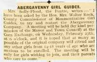 Letter from Mrs Solly-Flood about reviving the Abergavenny Company of Girl Guides. Abergavenny Chronicle 22nd February 1918.