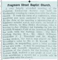 Report of a gift of a wrist watch to Helen Beveridge at Frogmore St Baptist Church. Abergavenny Chronicle 24th November 1916.