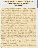 Report of the arrest of Gladys May Snell for infanticide. Barry Dock News 9th May 1919.