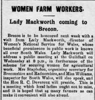 Advertisement for a meeting in Brecon to be addressed by Lady Mackworth. Brecon County Times 12th April 1917
