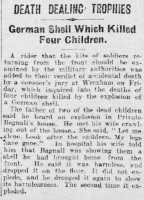 Report of the shell explosion that killed four girls and injured three adults, North Wales Chronicle 10th March 1916.