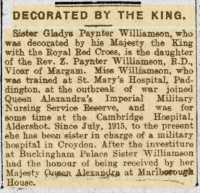 Report of Gladys Paynter-Williamson's award of the Royal Red Cross. Cambria Daily Leader 11th April 1917.