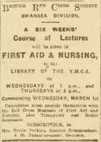 Advertisement for a Red Cross course of first aid and nursing. Cambria Daily Leader 22nd February 1916.