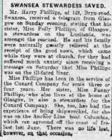 Report of the survival of Polly Phillips, stewardess on the Lusitania. Cambria Daily Leader 10 May 1915