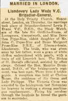 Report of the wedding in London of Dorothea Pryse Rice and Lewis Pugh Evans, October 1918