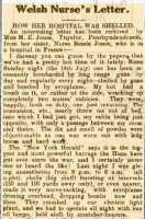 Letter to Bessie's sister Minnie Jones describing life in a field hospital under bombardment, and being suspected of being a spy, Cambrian News 16th August 1918 1.