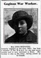 Newspaper photograph of Enid Spedding, WAAC. Cambrian News 3rd May 1918.