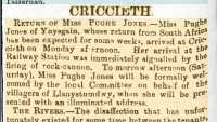 Report of Dorothea Pughe Jones's return from South Africa. Cambrian News 8th May 1903.