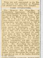 Report of Margaret Pryse-Rice's honour in the Carmarthen Journal. The Cambrian News reported it too, but only mentioned her husband's achievements!