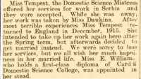 Report of Nora's visit back to Carmarthen County Girls School. Carmarthen Journal 9th June 1916