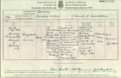 Death certificate for Elizabeth Davies