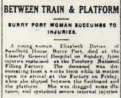 Newspaper report of Elizabeth Davies's death