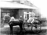 Ethel Basil Jayne driving to one of her early laundries in a pony and trap. This was her preferred mode of transport.