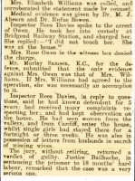 Part of the report of Rose Owen's trial and conviction at Cardiff Crown Court. Glamorgan Gazette 21st November 1919