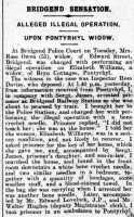 Part of the report of Rose Owen's appearance before the Bridgend magistrates. Glamorgan Gazette 8th August 1919