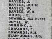 Name of Nurse Hilda Jessie Downing on Newtown War Memorial