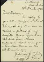 Letter to the Secretary of the Women's Committee from Ryda's mother Mary Rees 16th March 1920.