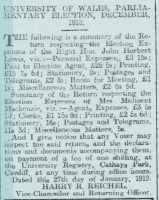 Report on election expenses, University of Wales candidates. North Wales Chronicle 14th February 1919rn