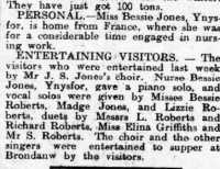 Report of Bessie Jones's return from France, and her performance in a concert. North Wales Chronicle 29th August 1919.