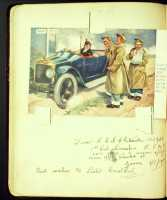 Album page with comic postcard, signed Driver Whiteside, 1918