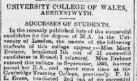 Report of Mary Brebner's MA at London University. South Wales Daily News 31st July 1893.