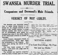 Report of the 'not guilty' verdict. Report of the charge against Mary Beynon. Cambria Daily Leader 11th August 1919.