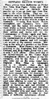 Australian newspaper report of Dorothea Pughe Jones's role in the enquiry into openings in Australia for women from the UK. The Advertiser 10th January 1920 Adelaide S Australia.