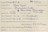 One of Elsie Courtis's VAD record cards.