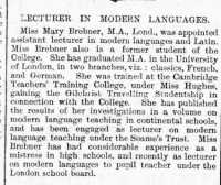 Report of Mary Brebner's appointment to the University College. Welsh Gazette 5th October 1899