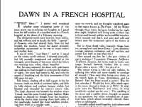 Beginning of Bessie Jones's (Merch o'r Ynys) essay 'Dawn in a French Hospital'. Welsh Outlook Vol 3 No 10 October 1916.