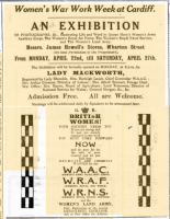 Advertisement for Women's War Work Week exhibition, held at Howells department store, Cardiff, April 1918.