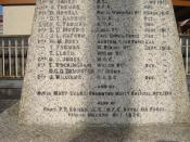 Name of Nurse Mary Evans on Abergwili War Memorial
