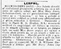 Report of memorial service for Mary Jones, Y Clorianydd 19th May 1915rn